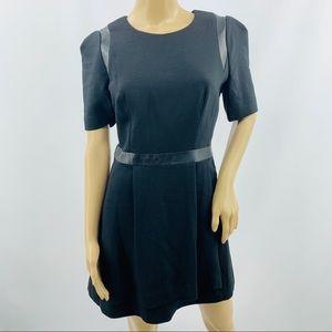 Milly Black Mini Dress With Leather Trim & Pockets